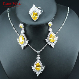 $enCountryForm.capitalKeyWord Australia - Trendy Bridal Jewelry Sets Yellow Cubic Zirconia For Women Wedding Best Gift 925 Silver Color Earrings Pendant Necklace Rings