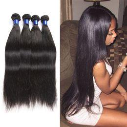 Natural Human Hair Weave Australia - Brazilian Virgin Hair 4 Bundles Cheap Unprocessed 8A Mink Human Hair Weave Wholesale Straight Hair 100g Bundles Natural Color Close 1B