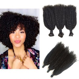 Bulk Hair Dye NZ - Peruvian Human Hair Weaves In Bulk Natural Color Can Be Dyed Afro Kinky Curly Bulk Hair Extensions Top Grade G-EASY