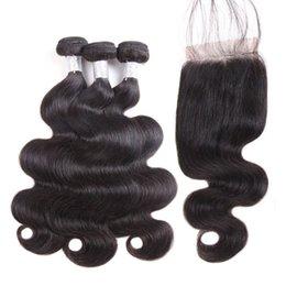 Brazilian Body wave hair Bulk online shopping - A Brazilian Body Wave Straight Hair Bundles With Closure Unprocessed Peruvian Indian Malaysian Virgin Hair with Lace Closure
