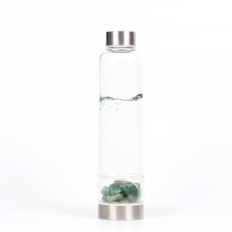 Green Money Box UK - Natural Green Aventurine stone Quartz Crystal Glass Water Bottle Gravel Irregular Stone Point Wand Healing Crushed stone cup Health cup