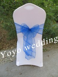 Discount royal blue chairs - Wholesale-royal blue crystal organza sash chair cover bow,chair cover tie