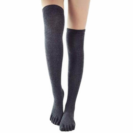 751a5daf043 Five Finger Knee Socks Women Cotton Thigh High Over The Knee Stockings for  Ladies Girls 2017 Warm Long Stocking Sexy Medias