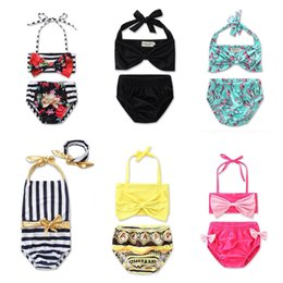 champagne swim wear NZ - Girls Bikini Swimsuit Pretty Baby bow tie Fashion Princess two piece Kids Bikini beach wear 2 Pcs Suit Child Swimwear Children Bathing YY012