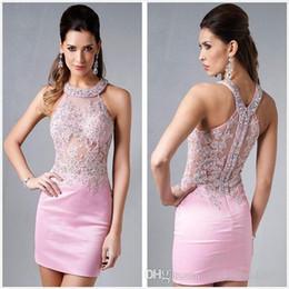 $enCountryForm.capitalKeyWord NZ - 2018 New Fashion Homecoming Dresses Sexy Halter Mini Pink Chiffon Crystal Bodice Short Prom Dress Party Cocktail Dresses