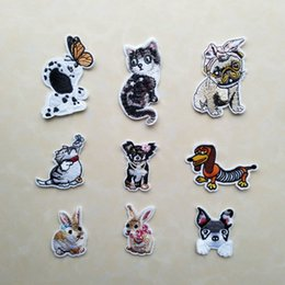$enCountryForm.capitalKeyWord Canada - 9pcs Set Dog Cat Rabbit Applique Embroidered Iron on Fabric Patches For Clothes Bag Animal Sticker Diy Craft Repair Decoration