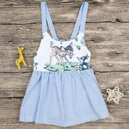 Blue striped children dress online shopping - Baby Girl INS Cartoon Sika deer Rabbit white blue striped dress New ins Children Sleeveless sling dresses clothes years B001