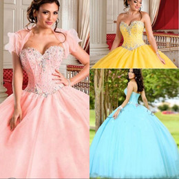 Gorgeous Princess Yellow Quinceanera Dresses with Jacket Beaded Crystal  2018 New Arrival Sweet 16 Dress vestidos de 15 anos Cheap d04f16311b1d