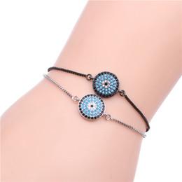 Bracelet Macrame Silver Australia - Anil Arjandas Bracelet Mosaic CZ Crystal Sideway Hamsa Evil Eye & Round Macrame Bracelet for Women