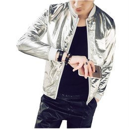 Discount shining jackets - Summer Mens Silver Shining Bomber Jacket Fashion Slim Fit Sun Protection thin coat mens Casual Plus Size Stage outwear T