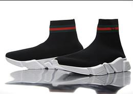 Wholesale 2018 new Fashion Luxury Brand Designer Shoes Speed Trainer Black Red Mr Paris Triple Black Flat Fashion Socks Boots Sneaker Speed Trainer