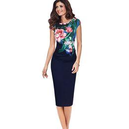 Cotton Summer Robes Ladies Australia - Elegant Summer Dress Women  Sleeveless Round Neck Printing Sheath Office ff3b08714