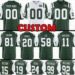 Custom New York Jets 20 Исайя Кроуэлл 1 Куинси Энунва 11 Робби Андерсон Джерси 92 Леонард Уильямс 26 Маркус Майе Даррон Ли 80 Хребет