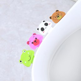 Two piece baThroom online shopping - Cartoon Lovely Toilet Lid Device Portable Handle Home Bathroom Products Cover Devices Dirty Hands With Animal Pattern rl jj