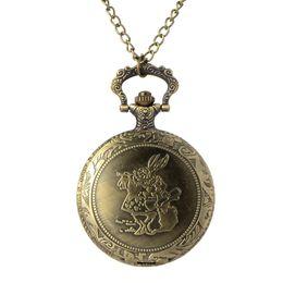 $enCountryForm.capitalKeyWord Australia - Cindiry Retro Bronze Rabbit & Cute Alice in Wonderland Quartz Pocket Watch Necklace Pendant Fob Watches Chain Clock Gift