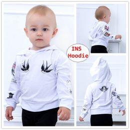 Girls Winter Shirts For Kids NZ - INS Kids Swallow print hoodie Boy Girl Cartoon long sleeve Tops Cute flower print Shirts for 0-5T
