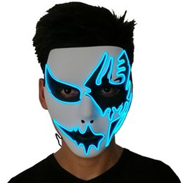 Chinese  Three Light Modes EL Wire Ghost Mask LED Light Up Neon Mask For Halloween Scary Cosplay Masquerade Dancing Party Luminous Masks manufacturers