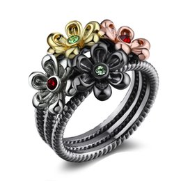 asian jewellery NZ - New flower rings multi color Black trendy jewelry cute jewellery high quality 4 tones female fashion ring