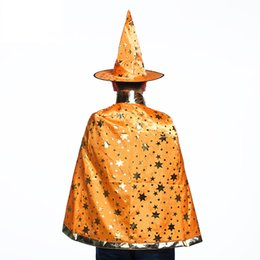 China 7 Colors New Fashion Cute Halloween five-pointed star costumes Wizard Witch Hat Party Cosplay Props Clear Hats for Kids Clacks cheap kids wizard hat suppliers