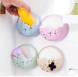 Wholesale New Color Random Toilet Suction Cup Holder Bathroom Kitchen Soap Dish Home Soap Holder Tray Wall Holder Make Up Storage Box