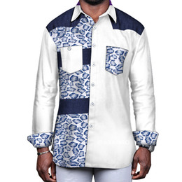 f3cb1cb507 African Traditional Shirt NZ - Mens African Clothing Formal Cotton Terylene  Dashiki Print Shirt Tops Bazin