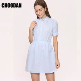 $enCountryForm.capitalKeyWord NZ - Shirt Dress Women Summer Dress 2018 Fashion Korean Female Short Sleeve White And Blue Striped Linen Casual Dresses For Ladies