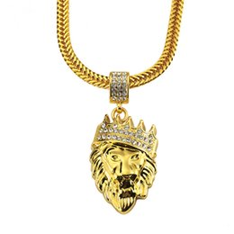 $enCountryForm.capitalKeyWord NZ - Men Hip Hop Fashion Lion Head Pendant Necklaces For Rhinestone Design 75cm Long Snake Chain Filling Pieces Men Necklace Jewelry