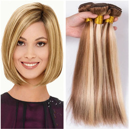 mixed blonde ombre hair extensions Australia - Piano Color Brazilian Human Hair Weave Bundles 3Pcs Lot Straight Light Brown Highlight Mixed Blonde Piano Color Virgin Hair Extensions