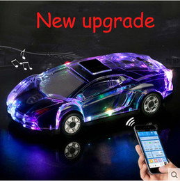Discount led crystal car speaker MLL-63 Colorful Crystal LED Light Car Shape Mini Portable Bluetooth Wireless Speaker Subwoofer Stereo Support USB FM Rad