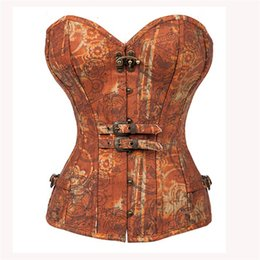 Corsets patterns online shopping - Floral Steampunk Corsets Bustiers Gothic Women Steel Bone Corselet Sexy Women Retro Buckles Gears Pattern Tops Slimming Bustier Lingerie