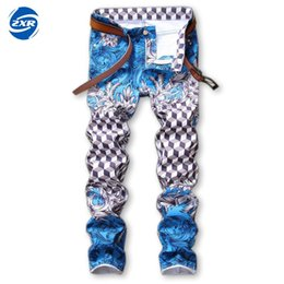 Straight Stretch Jeans Pants Nightclubs Singers White Biker Jeans Printed Pants Tight Denim Printed New Fashion Men's