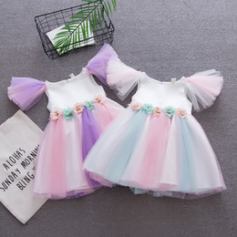 333d11fd848 Fairy princess Flower girl dresses online shopping - Baby Rainbow dress  Summer Princess fairy Tulle dress
