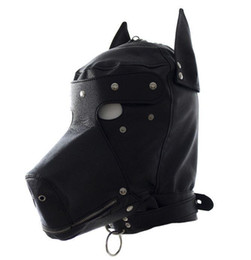 Dog Zipper Australia - PU Leather Dog Doggy Full Hood Mask Costume With Month Zipper Eyes patch #Q76