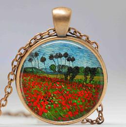$enCountryForm.capitalKeyWord Canada - Van Gogh poppy field necklace,poppies farm necklace, Van Gogh poppy flower pendant, Van Gogh jewelry, vintage