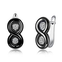 $enCountryForm.capitalKeyWord NZ - K's Gadgets U Shape Stud Earrings Luxury Ceramic Zircon Silver 925 Jewelry Earring Square Earrings For Women Brincos Bijoux