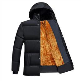 Hooded Winter Parkas For Men NZ - 2017 Parka Men Warm Winter Coat Zipper Thick Plus Velvet winter Jacket For Men Dad installed solid color loose jackets men D18100906