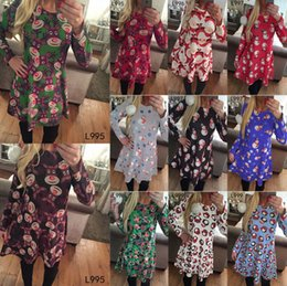 Wholesale winter dressing style for women for sale – plus size 11 style Christmas Long Sleeves Woman Girls Dress Deer Snowman Flower Printed Skirt Elegant for Party Dresses