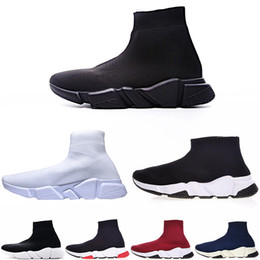 Fashion canvas boots men online shopping - New Designer fashion boot for women men Speed Trainer Red Triple Black Flat casual shoes Sock Boot mens Sneaker shoe