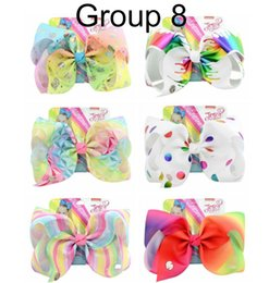 Hair Clip Cards NZ - JOJO SIWA 8inch LARGE Rainbow Unicorn Signature hair clip HAIR BOW with card and sequin logo baby girl Children Hot style