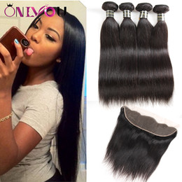 Discount peruvian 18 inch straight hair closure - Hot Selling Onlyou Hair Products Unprocessed Peruvian Virgin Hair Straight Human Hair Weave Bundles with Frontal Weaves