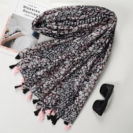 $enCountryForm.capitalKeyWord NZ - Guttavalli Women Black Small Flowers Tassels Long Shawl Spring Female Cotton Scarf Bohemia Plant Skinny Chevron Skinny Scarves