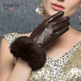 Discount men fur leather gloves - YY8882 Winter Rabbit Fur Genuine Leather Gloves Women Feminino Real Sheepskin Finger Black Brown Motorcycl Mittens Guant