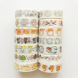 Diy Kawaii Stationery Australia - B02 Kawaii Cartoon Animals Masking Tape Washi Tape School Supply Stationery Scrapbooking Album DIY Craft Decor 2016