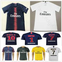 1682b2a18 2018 2019 PARIS Soccer Jersey 1 BUFFON 6 VERRATTI 9 CAVANI 10 NEYMAR JR 7  MBAPPE 18 19 Home Blue Customize Football Shirt