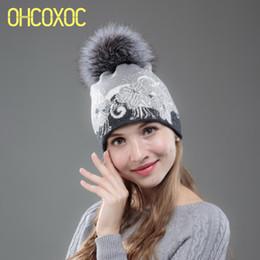 88c34f716ef OHCOXOC New Women Beanies Real Fox Fur Pom Ball Keep Warm Beanie Skullies floral  thermal thick Cashmere wool brand Winter Hat D18103006