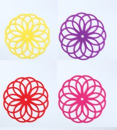 Flower shape cups online shopping - Bauhinia Flower Shape Vase Pads Anti Skid Silicone Bowl Cup Coasters Colorful Tableware Pot Mats New Arrival zc XB