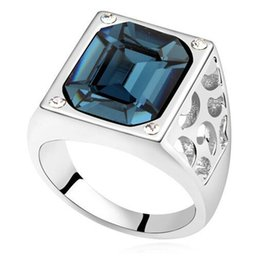 swarovski stone plate Australia - Square Rhinestone Crystal from Swarovski Elements Women Rings Vintage Style Fashion Jewelry High Quality Finger White Gold Plated 16040