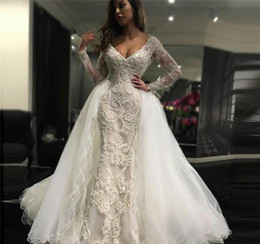 detachable court wedding dresses NZ - Sexy Beaded Overskirts Wedding Dresses V Neck Lace Applique Court Train Bridal Gowns with Detachable Train