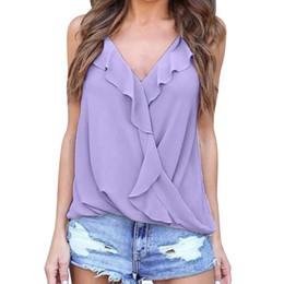 f9940cf07fd2c Summer 2018 New Fashion Womens V Neck Straps Vest Falbala Chiffon Casual Tank  Tops Cami T-Shirt Solid Multicolor tee shirt femme