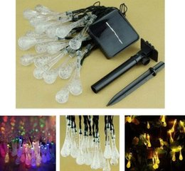 OutdOOr sOlar christmas lighting online shopping - Solar Lawn lamp Water Drop LED String Lights M LED Outdoor Fairy lights Garden Christmas Decoration For Home Wedding Party DDA652